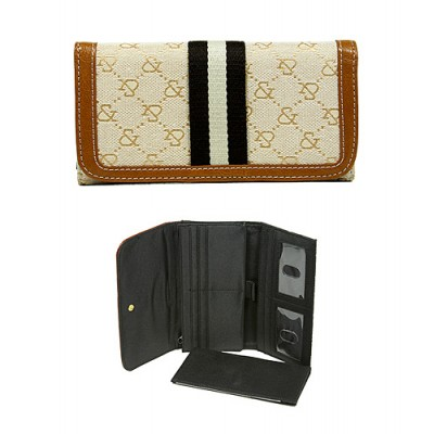 Wallet - Jacquard Monogram Check Book Wallet - Tan  - WL-AND008TN