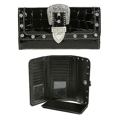 Wallet - Buckled Croc Embossed Wallet - Black - WL-WBLT141CBK