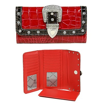 Wallet - Buckled Croc Embossed Wallet - Red - WL-WBLT141CRD