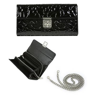 Wallet - Genuine Leather w/ Floral Embossed - Black - WL-C1020BK