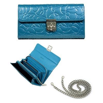 Wallet - Genuine Leather w/ Floral Embossed - Blue - WL-C1020BL