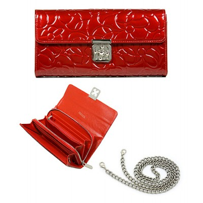 Wallet - Genuine Leather w/ Floral Embossed - Red - WL-C1020RD