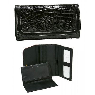 Croc Embossed Check Book Wallets - Black -WL-COP009WBK