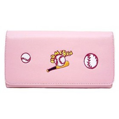 Wallet - Embroidered Baseball Theme - Pink - WL-EBB030WBPK