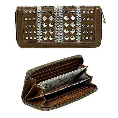 Wallet - Accordion Studded Wallet w/ Zipper Closure & Wristlet- Brown color -WL-F519GRY