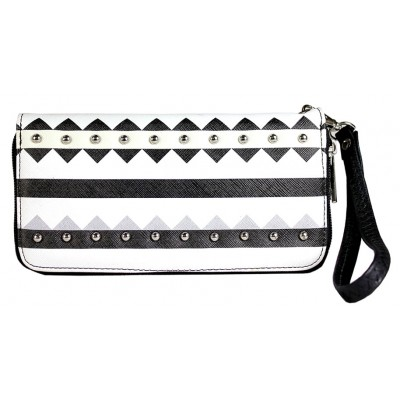 Wallet - Aztec Print Zippered Around with Wristlet - Black - WL-TRO5064BK