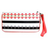 Wallet - Aztec Print Zippered Around with Wristlet - Coral -WL-TRO5064COR