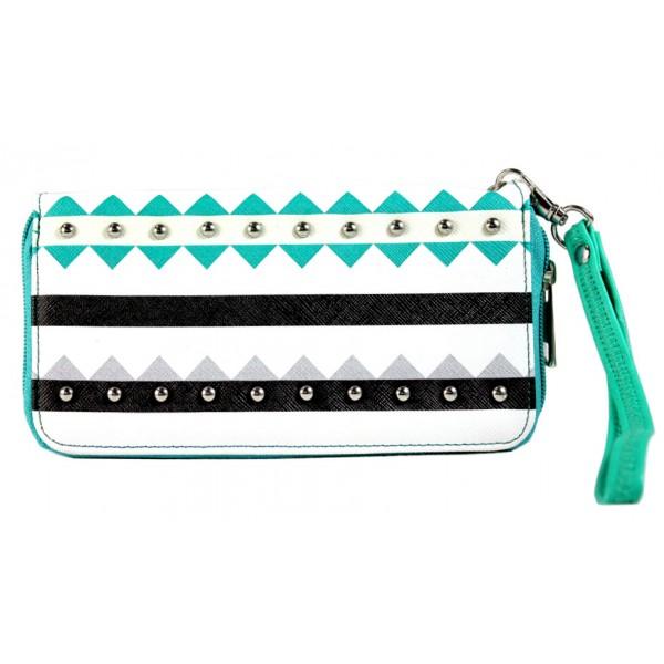 Wallet - Aztec Print Zippered Around with Wristlet - Green - WL-TRO5064GN