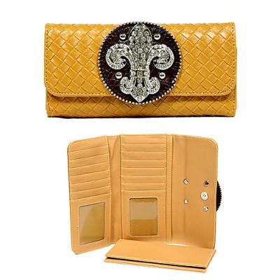 Wallet - Fleur de Lis Charm Wallet/Leather Like - Camel - WL-W119CA