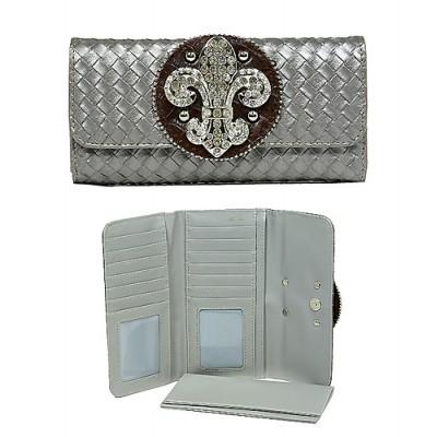 Wallet - Fleur de Lis Charm Wallet/Leather Like - Pewter-WL-W119PT