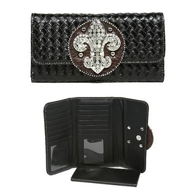 Wallet - Fleur de Lis Charm Wallet - Black - WL-W123BK