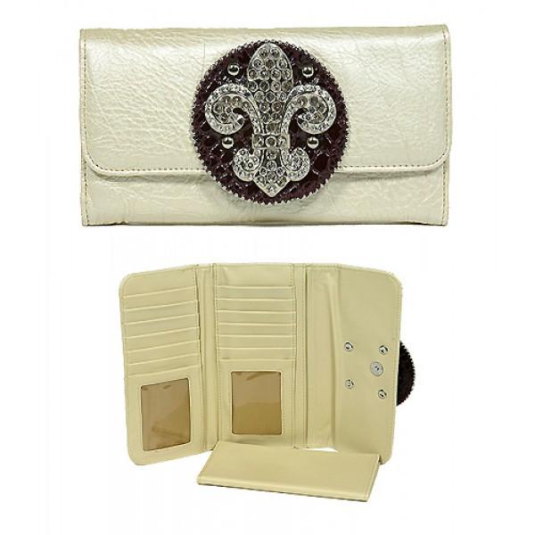 Wallet - Fleur de Lis Charm Wallet - Beige - WL-W129BEI