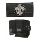 Wallet - Fleur de Lis Charm Wallet/ Leather-like - Black - WL-W129BK