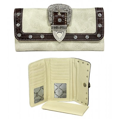 Wallet - Belt Buckle Wallet w/ Check Book Cover - Natural - WL-WBLT141NT