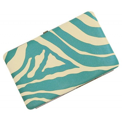 Wallet - Flat Wallet - Zebra Print Flat Wallet - TQ Blue Stripes - WL-Z002TQ