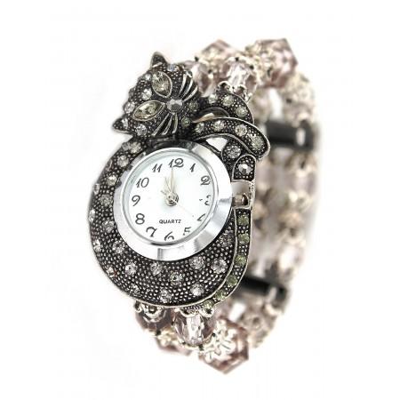 Bracelet Watch - Rhinestone Kitty - Smoke Black - WT-KH01407BK