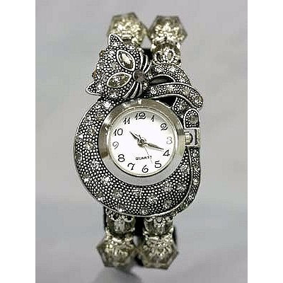 Bracelet Watch - Rhinestone Kitty - Smoke Black - WT-KH01407BK