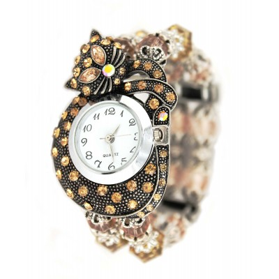 Bracelet Watch - Rhinestone Kitty - Brown - WT-KH01407BN