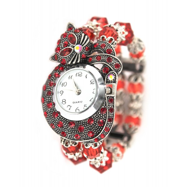Bracelet Watch - Rhinestone Kitty - Red - WT-KH01407RD