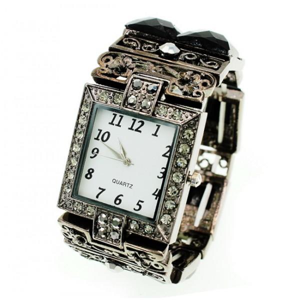 Bracelet Watch - Rhinestones w/ Multi Beaded Stretchable Bracelet - Black - WT-KH11486BK