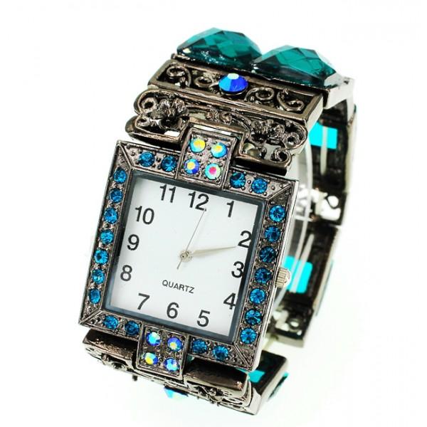 Bracelet Watch - Rhinestones w/ Multi Beaded Stretchable Bracelet - Blue - WT-KH11486BL