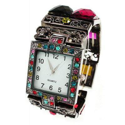 Bracelet Watch - Rhinestones w/ Multi Beaded Stretchable Bracelet - Multi - WT-KH11486MT