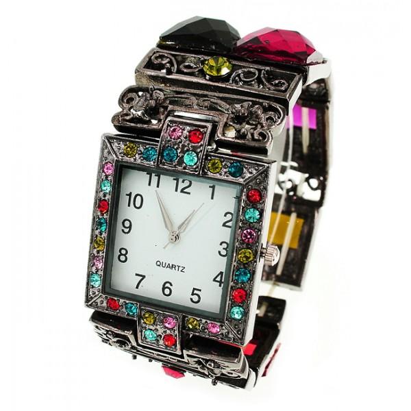 Bracelet Watch - Rhinestones w/ Multi Beaded Stretchable Bracelet - Multi - WT-KH11486MT