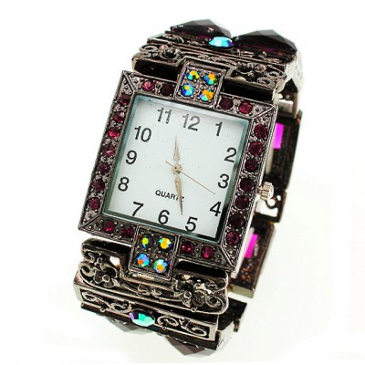 Bracelet Watch - Rhinestones w/ Multi Beaded Stretchable Bracelet - Purple - WT-KH11486PL
