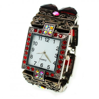 Bracelet Watch - Rhinestones w/ Multi Beaded Stretchable Bracelet - Red - WT-KH11486RD
