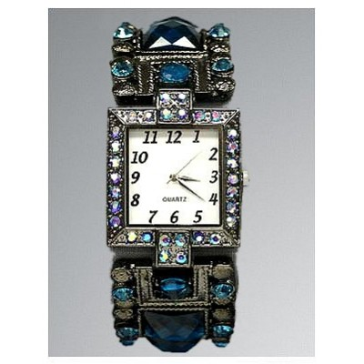 Bracelet Watch - Rhinestones w/ Multi Beaded Stretchable Bracelet - Blue - WT-KH11495BL