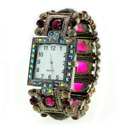Bracelet Watch - Rhinestones w/ Multi Beaded Stretchable Bracelet - Purple -WT-KH11495PL