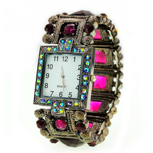 Bracelet Watch - Rhinestones w/ Multi Beaded Stretchable Bracelet - Purple -WT-KH11495PL