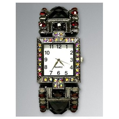 Bracelet Watch - Rhinestones w/ Multi Beaded Stretchable Bracelet - Red - WT-KH11495RD