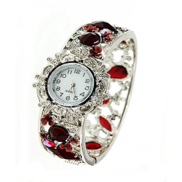 Bracelet Watch - Rhinestone Bangle w/ Hinge - Red - WT-KH9483RD