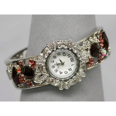 Bracelet Watch - Rhinestone Bangle w/ Hinge - Red - WT-KH9483RD