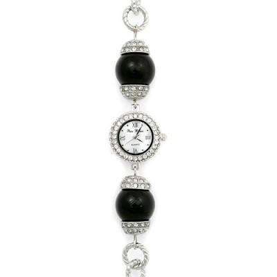 Bracelet Watch - Pearl Like Links Band - WT-L80626BK
