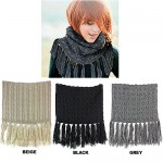 Scarf - Double Layer Cable Knitted With Fringes Neck Warmer - SF-NK35