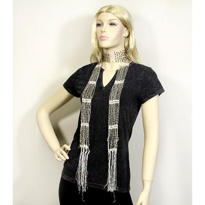 Scarf - Beaded Crochet Sash - Ivory Color - SF-SFS119002