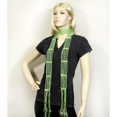 Scarf - Beaded Crochet Sash - Green Color - SF-SFS119005