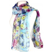 Scarf - Rose Print w/ White Flocks - SF-FS1236BL