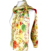 Scarf - Rose Print w/ White Flocks - SF-FS1236LE