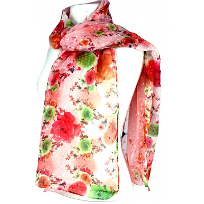 Scarf - Rose Print w/ White Flocks - SF-FS1236PE
