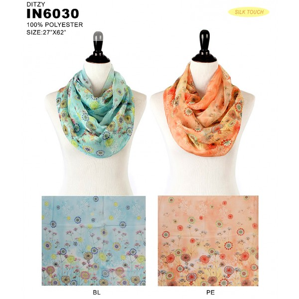 Infinity Scarf - Silk Touch - Daisy Print  - SF-IN6030