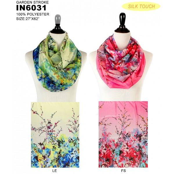 Infinity Scarf - Silk Touch - Garden Print  - SF-IN6031