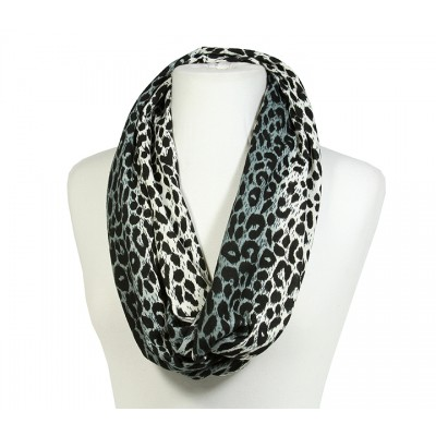 Scarf - Infinity Loop Leopard Print - Charcoal - SF-PCW0784CH