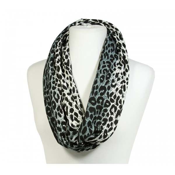 Scarf - Infinity Loop Leopard Print - Charcoal - SF-PCW0784CH