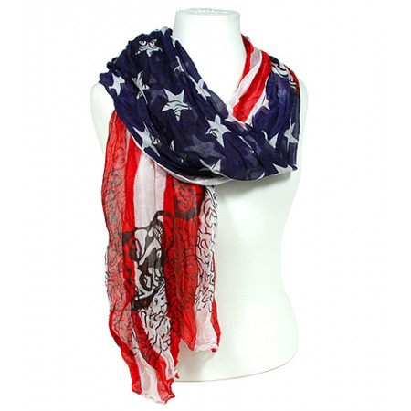 Scarf - USA Flag Print w/Skull Prints - SF-S2157