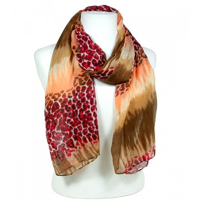 Scarf - Leopard Print - Brown / Orange / Tan  - SF-SSF50815BR