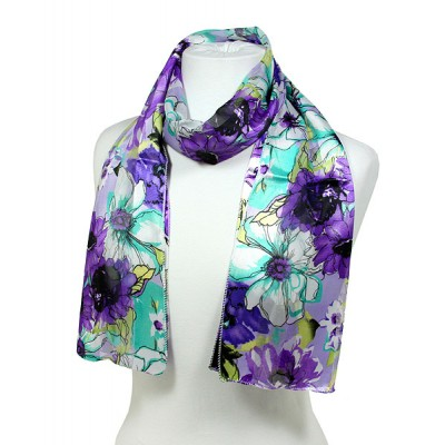 Scarf - 12pcs Floral Print Scarves - Purple - SF-SSPO1190PP