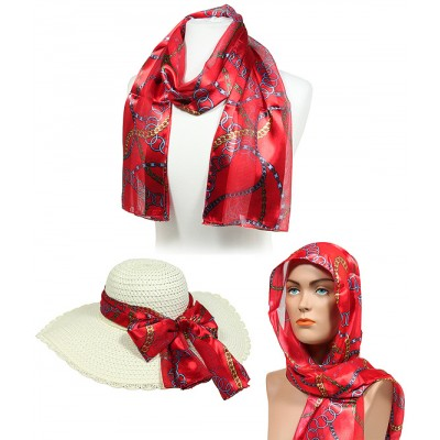 Scarf - 12pcs Chain Print Scarves - Red - SF-SSPO3835RD